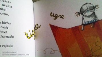"""Exemplo de texto intermidiático na ilustração de Jean-Claude R. Alphen para o livro """"O Gato Massamê e Aquilo que Ele Vê"""" de Ana Maria Machado, Editora Ática, 2014."""